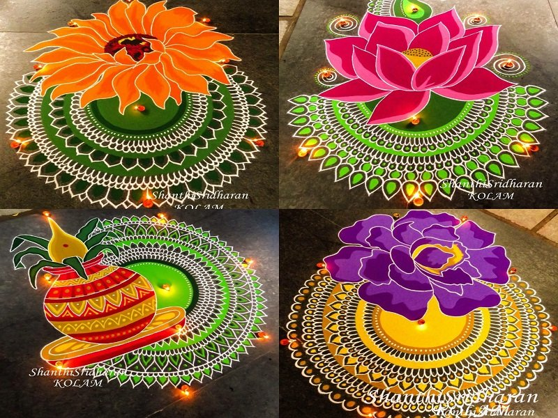 12 Latest Easy And Simple Rangoli Designs For Diwali 2019 Venuelook Blog,Green Plain Saree With Designer Blouse Images