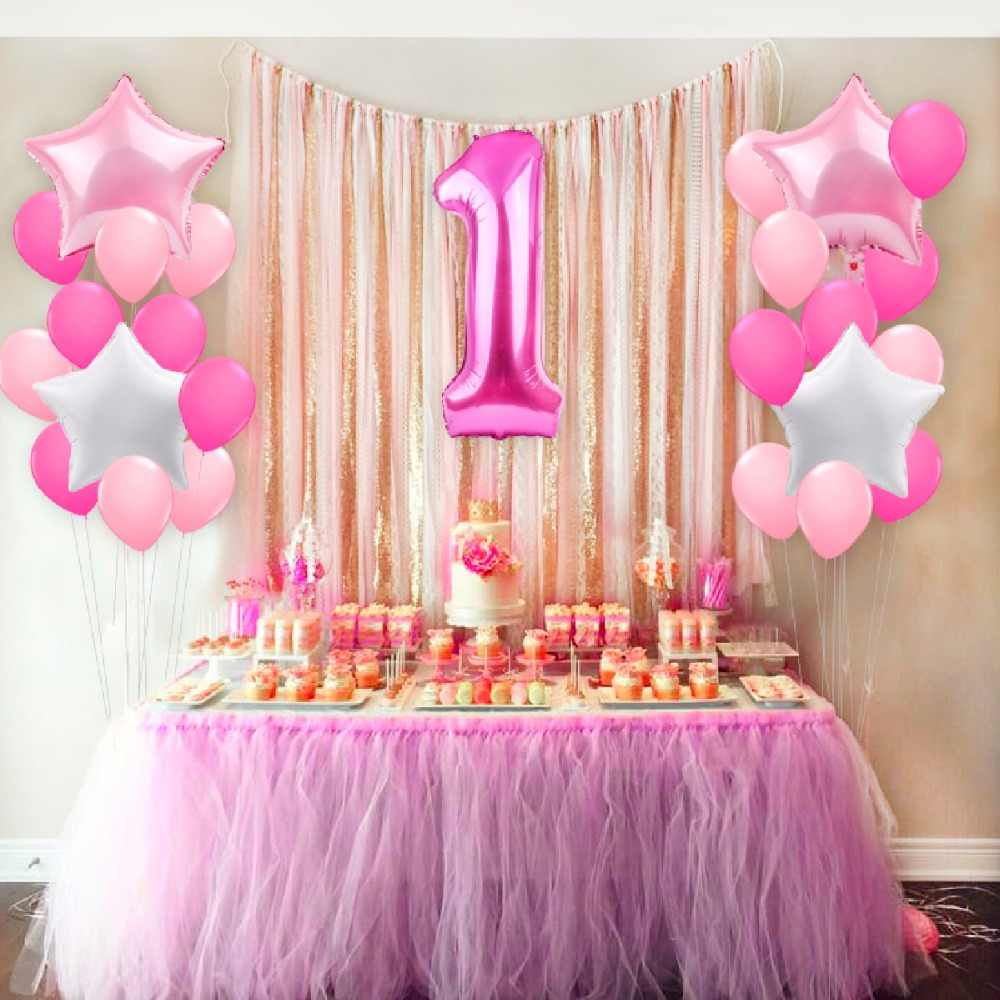 Pink theme for first birthday party of girl | Pink color theme decor ideas for Birthday Party | pink party decoration